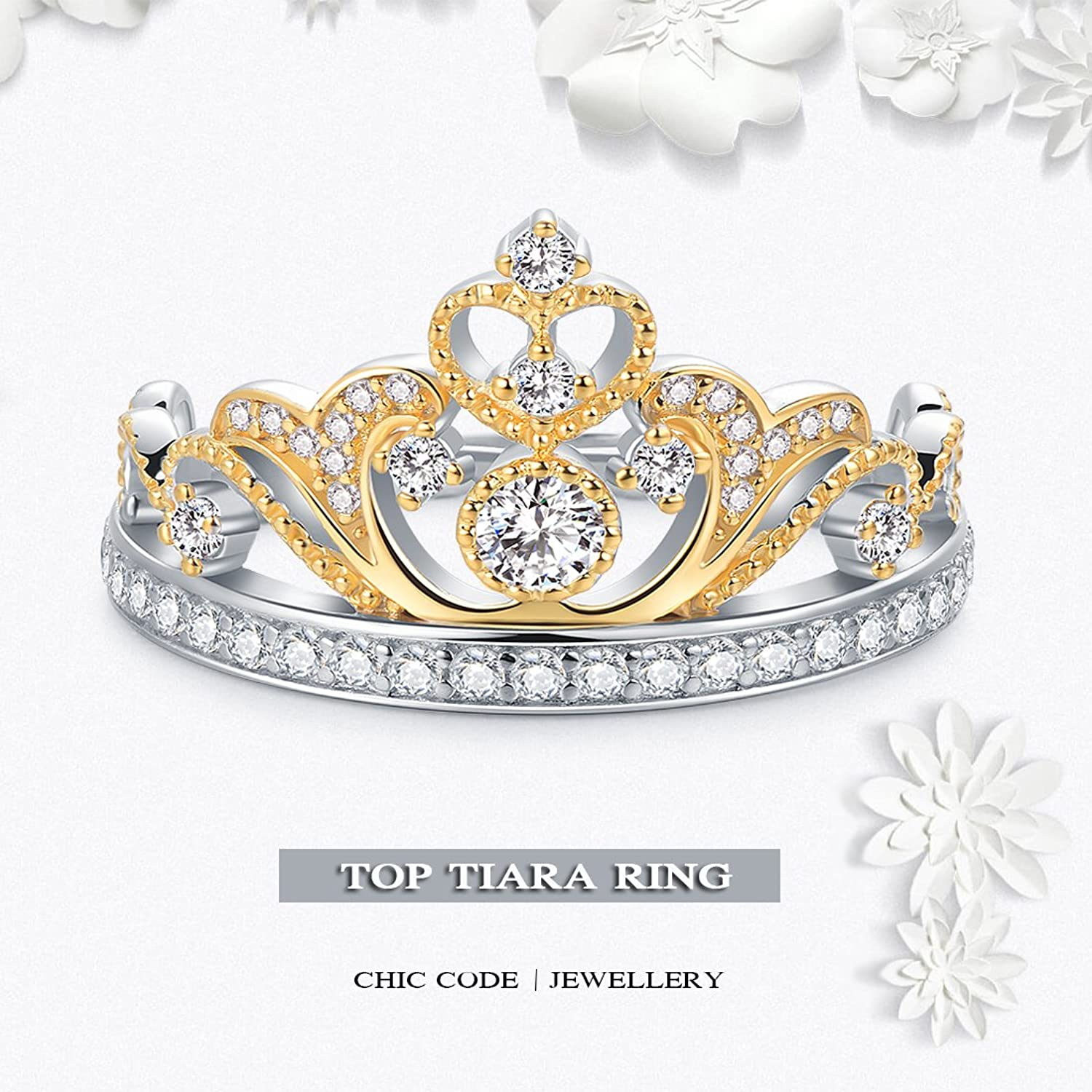 Bundle offer 18k gold plated amp white gold plated necklace 2 ring - Amazon Com Chic Code Yellow White Gold Plated 925 Sterling Silver Princess Crown Ring Top Tiara Ring Gift Jewelry