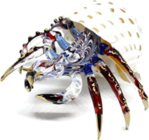 NaCraftTH Glass Figure Hermit Crab in Seashell Murano Glass Blow Artwork Handicraft Crystal Ocean Sea Animal Figurine Fish Tank Aquarium Decorations (Big)