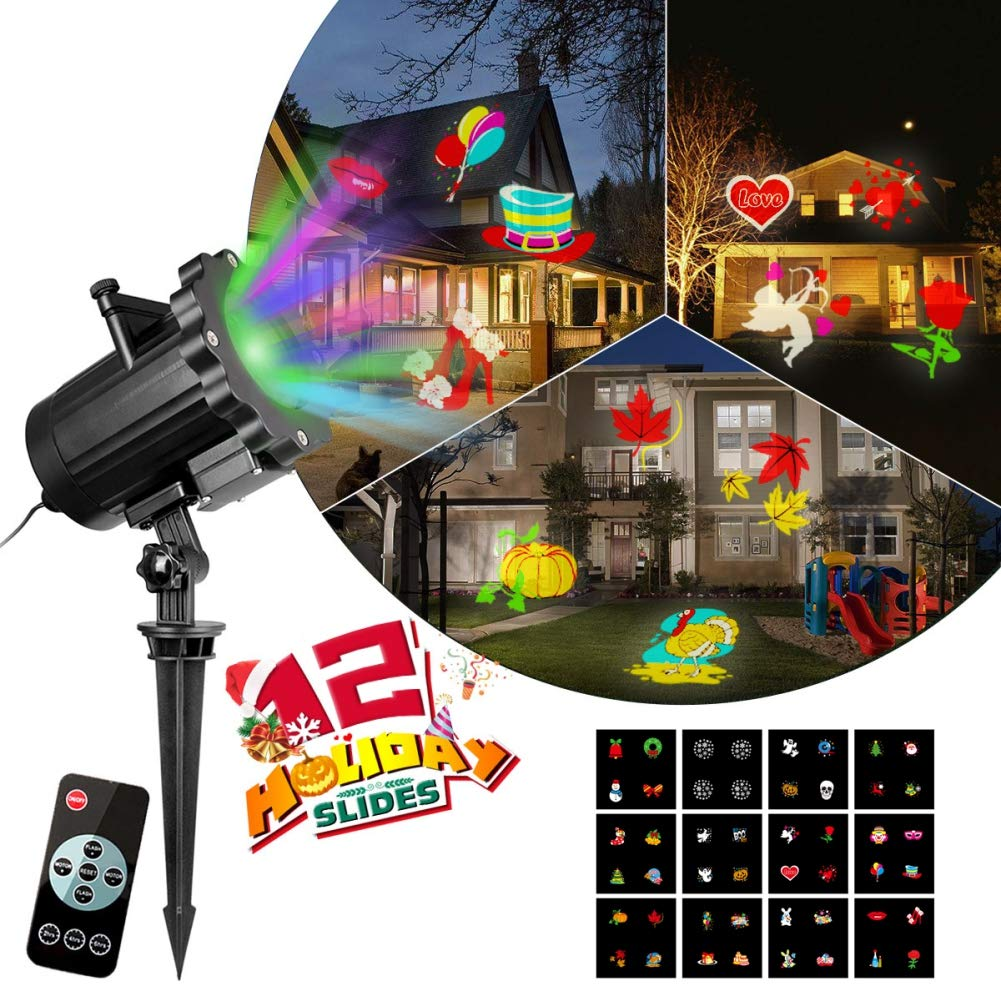 Jlong Christmas Projector Lights Outdoor - 16 Slides Landscape Motion Projector Lights with Remote Control for Halloween Holiday Birthday Party 32ft Power Cable for Decoration Lighting