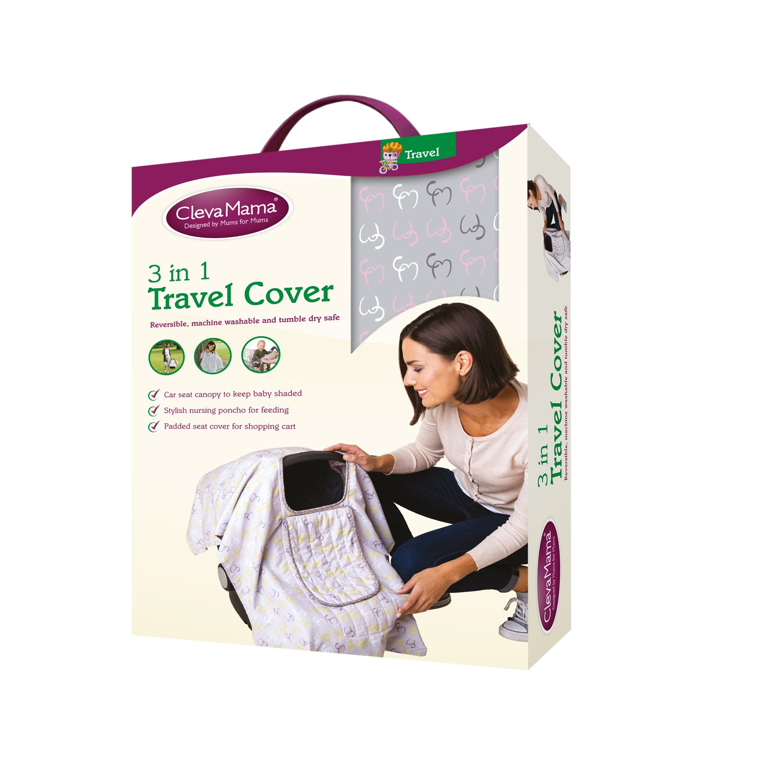 Clevamama 3-In-1 Travel Cover - Nursing poncho, Padded seat and Canopy (Green)