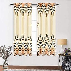 Patio Door Curtains 84 inch Length, Geometric Decor Rod Pocket Curtains 72