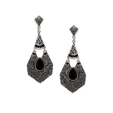 3aa3c1268 Buy Rubans Oxidised Silver Toned Black Onyx Drop Earrings Online at Low  Prices in India | Amazon Jewellery Store - Amazon.in