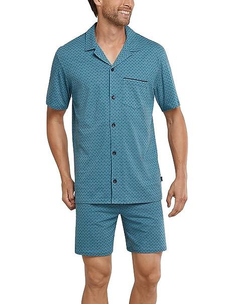 Schiesser Pyjama Kurz, Pantalones de Pijama para Hombre, Azul (Blaugrün 817),