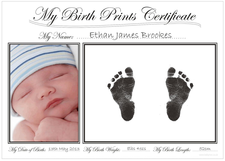 Amazon babyrice new baby handprint footprint certificate amazon babyrice new baby handprint footprint certificate kit boy girl unisex birth prints baby yadclub Gallery