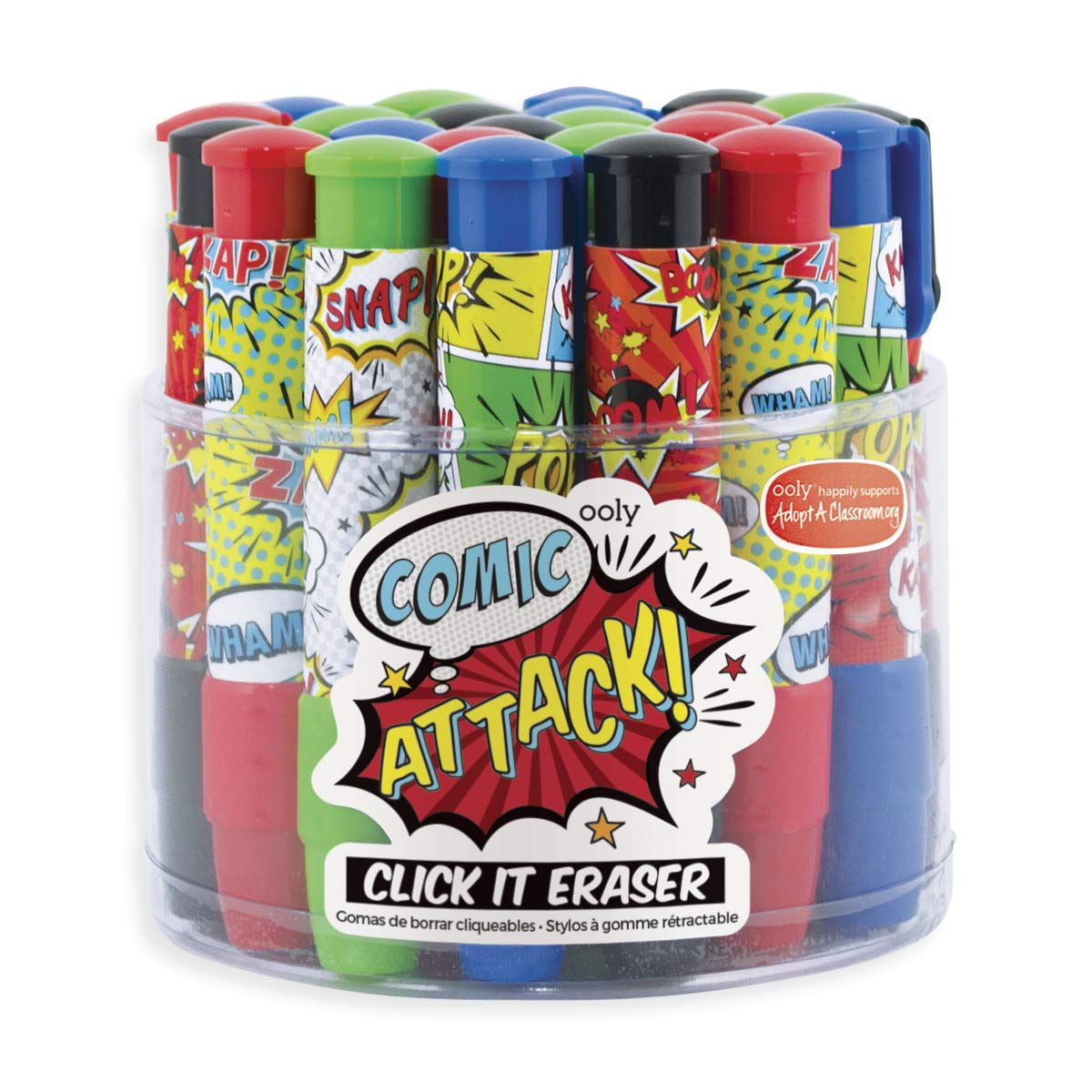 Click It Erasers - Tub of 24 - Comic Attack by OOLY