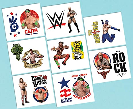Amscan Grand Slammin WWE Temporary Tattoos Birthday Party Favors 16 Pack 2quot