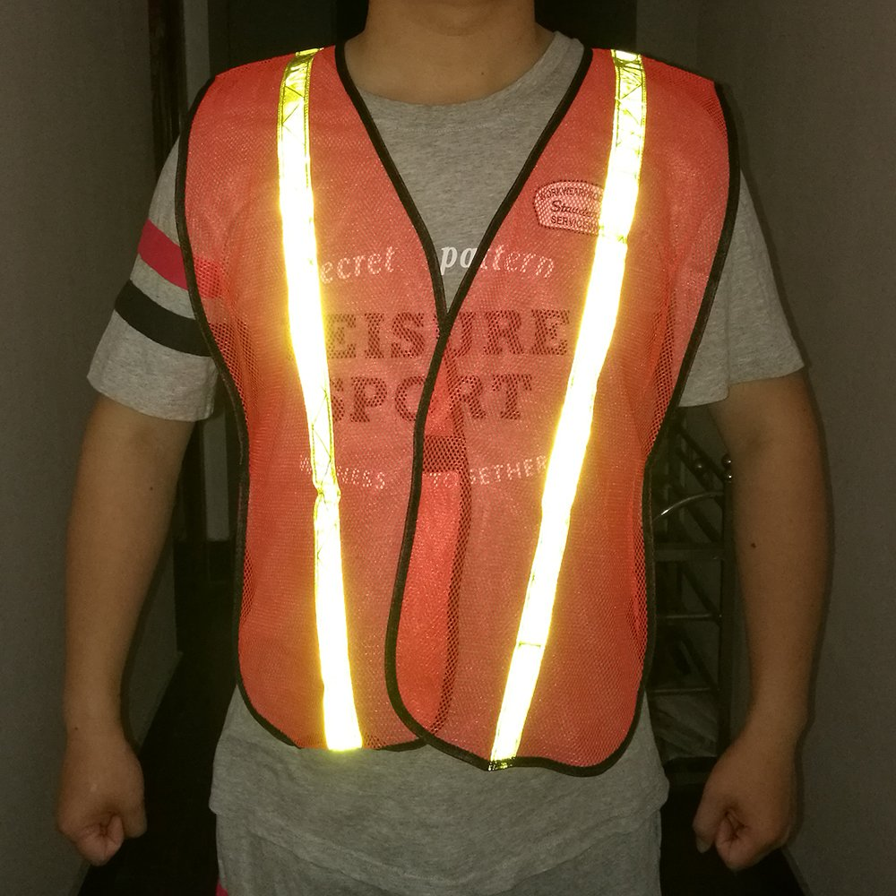 High Visibility Safety Vests 10 Packs,Adjustable Size,Lightweight Mesh Fabric, Wholesale Reflective Vest for Outdoor Works, Cycling, Jogging, Walking,Sports - Fits for Men and Women (Neon Orange) by zojo (Image #6)