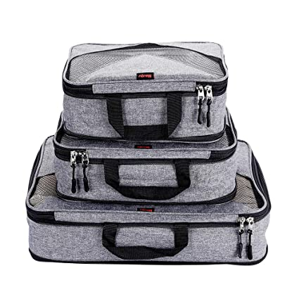 88c3f4a75caf Compression Packing Cubes Travel Luggage Suitcase Organizer 3 Set (grey,  One_Size)