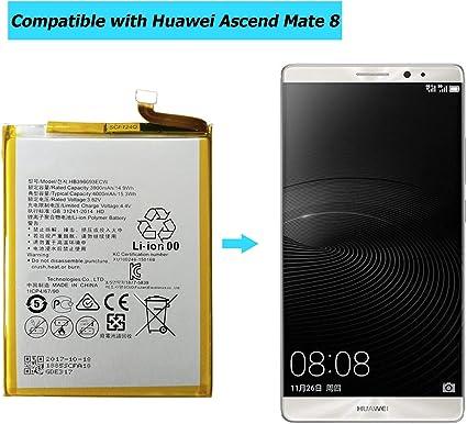 Ellenne Batterie compatible avec Huawei Ascend Mate 8 HB396693ECW haute capacit/é 4000 mAh avec kit de d/émontage inclus