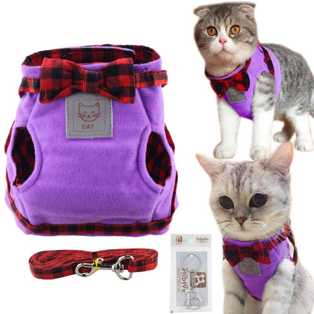 Bolbove Cute Kitty Bowtie Lovely Plaid Jacket Vest Harness and Leash Set for Cats (Medium, Purple)