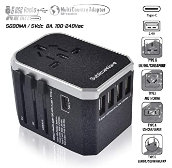 The 220 Volt Plug Amazon Com >> Power Plug Adapter International Travel W 5 Usb Ports And Usb Type C Work 150 Countries 220 Volt Adapter Travel Adapter Type Cagia C Uk