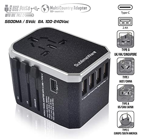 power plug adapter - international travel (w/5 usb ports and usb type c)-  work 150+ countries - 220 volt adapter - travel adapter - type c a g i a/c  - uk