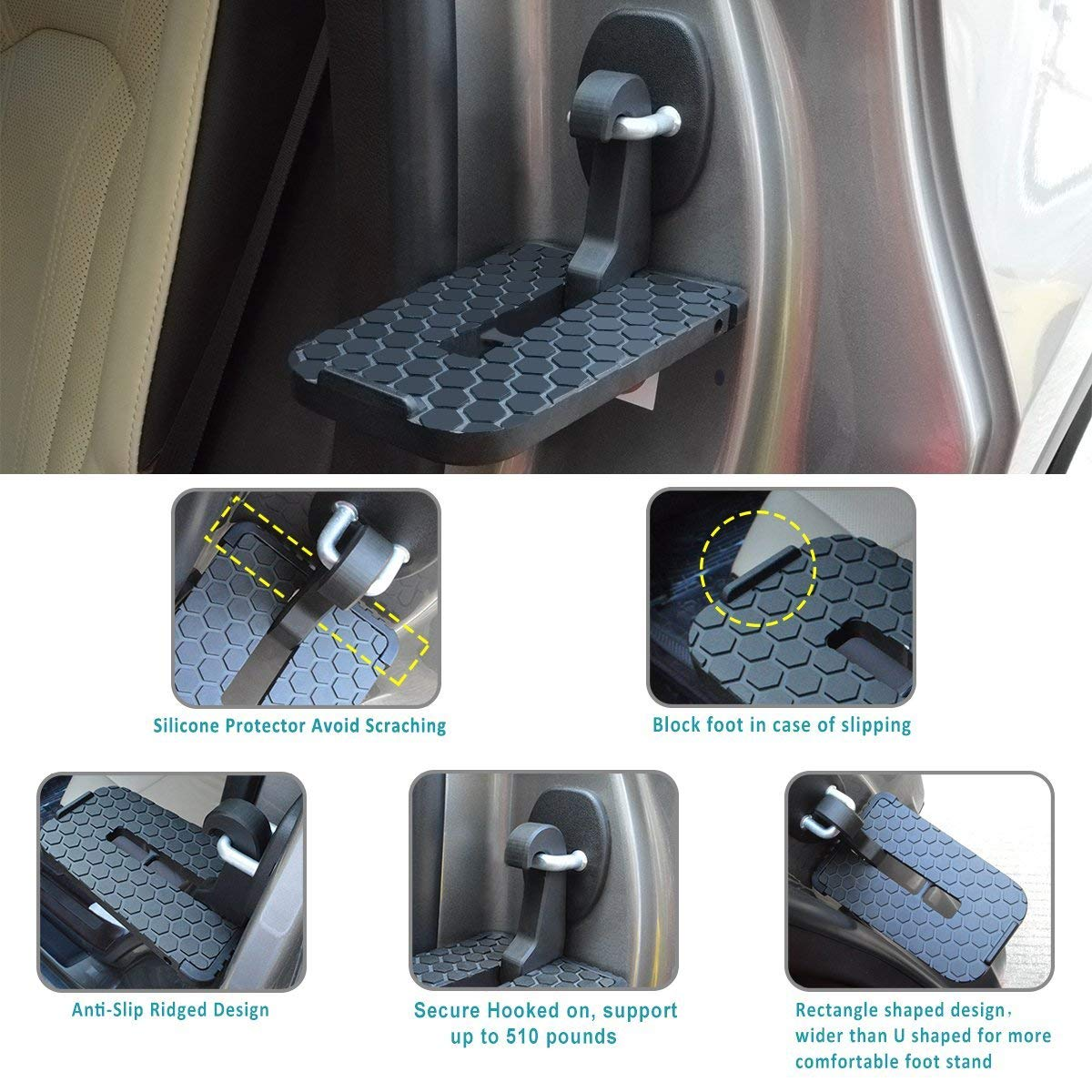 Circle for Car Doorstep,Aluminum Alloy Hooked Folding Ladder Foot Pegs,Easy Access to Car Rooftop
