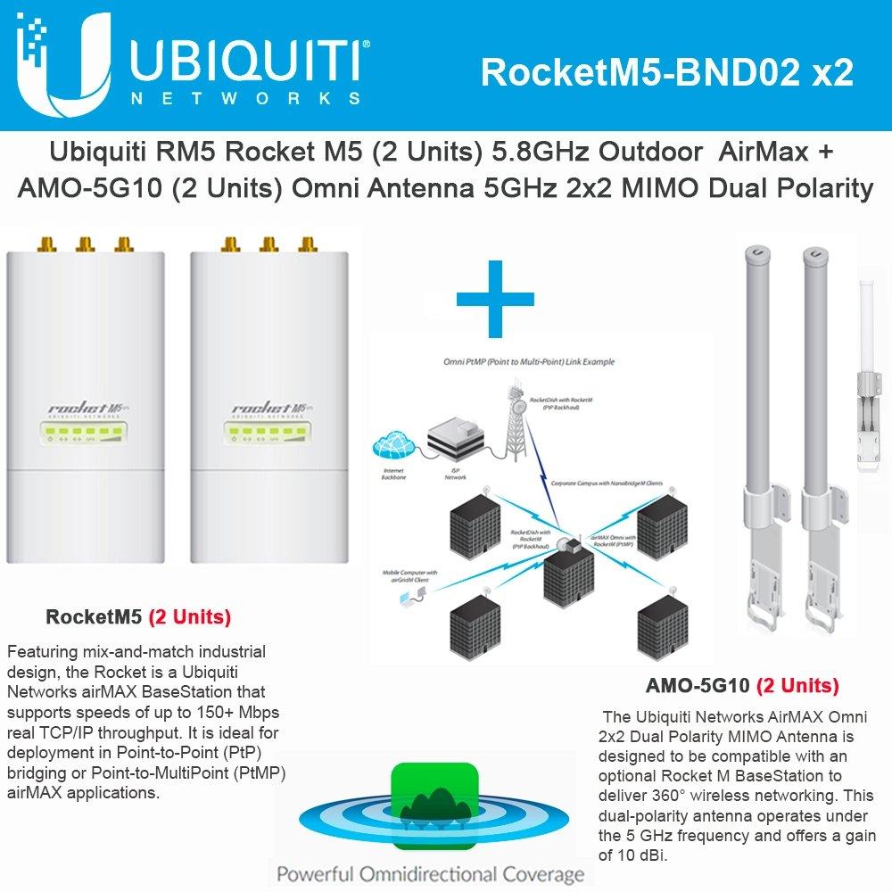 Ubiquiti RocketM5 2Pack BaseStation PtMP +AMO-5G10 2Pack Omni Dual Antenna 10dBi by Ubiquiti Networks