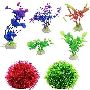 DaKuan 2 Pack Fake Marimo Balls and 5 Pack Aquarium Plants, Fish Tank Decorations Home Décor Plastic Assorted Color
