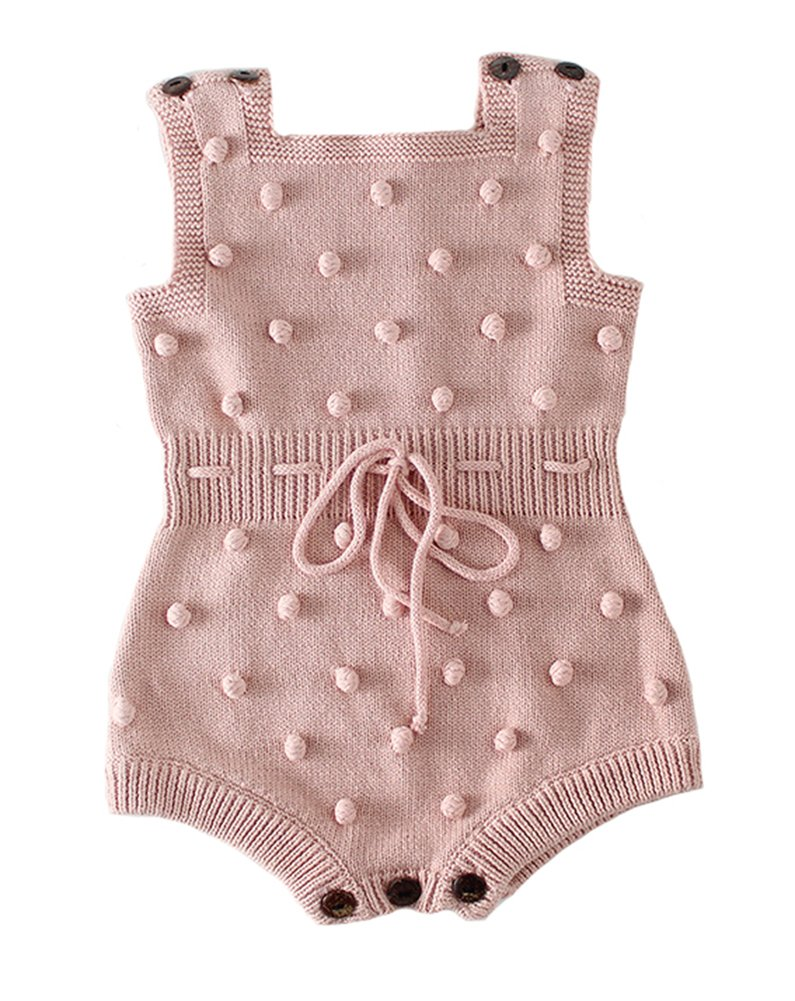 Eiffel Direct Baby Girls Knit Striped Spot Romper Button Sleeveless Jumpsuit Bodysuit (Pink 2, 66/Fit 6 Months)