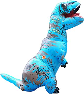 Pawant Adult Halloween Costume Inflatable Dinosaur T-REX Blow Up Costume (One size, Blue)