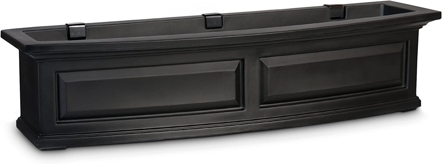 Mayne 4831-B Nantucket Polyethylene Window Box, 4 , Black