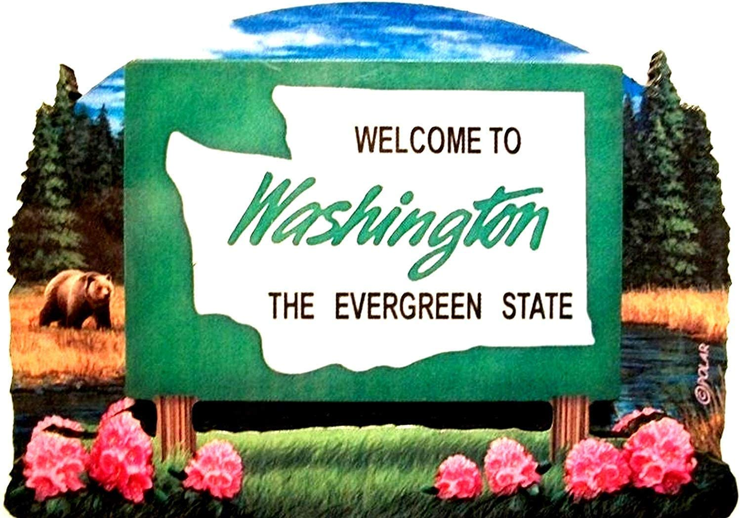 Washington State Welcome Sign Wood Fridge Magnet 2