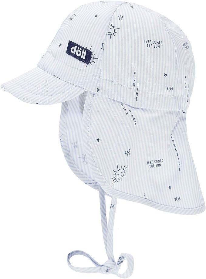 D/öll Baby-Jungen Bindem/ütze mit Schirm und Nackenschutz Sonnenhut