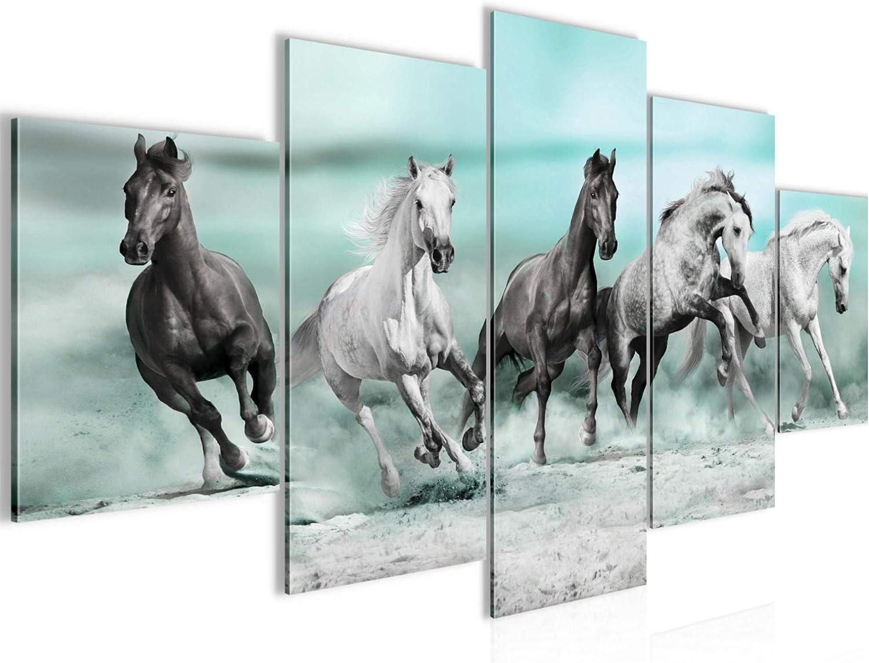 Imagen de caballos, cuadro de pared de fieltro – lienzo XXL formato pared imágenes de salón vivienda decoración impresiones artísticas azul 5 piezas – Fabricado en Alemania – listo para colgar 014153b