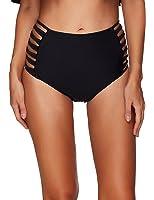 Ducone Women's Swimwear Lattice Side High Waist Bikini Bottom