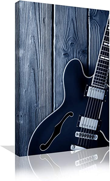 Urttiiyy Black and White Guitar Wall Art Wooden Background Canvas Paintings Vintage Music Home Decor Large Posters Print
