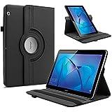Huawei MediaPad T3 10 Funda Case, Infiland Funda Rotating Case PU Cuero Cascara Delgada con Soporte para Huawei MediaPad T3 10 Tablet(9.6 Pulgada)(Negro)