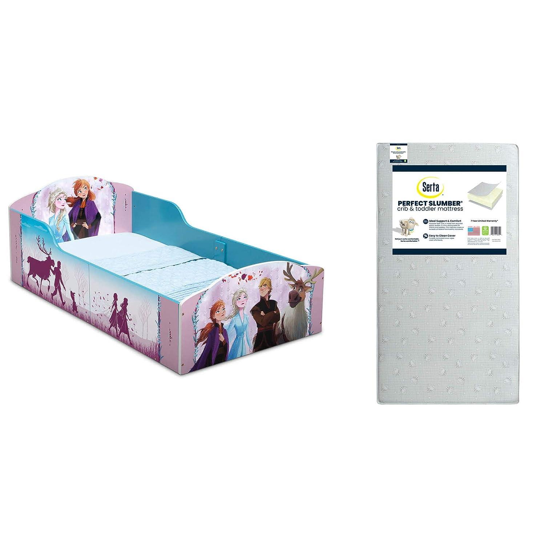 Delta Children Wood Toddler Bed, Disney Frozen II + Serta Perfect Slumber Dual Sided Recycled Fiber Core Toddler Mattress (Bundle)