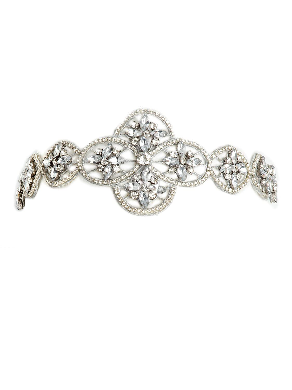 Vintage Style Jewelry, Retro Jewelry Bohomonde Indira Headband Crystal Rhinestone Fancy Formal Beaded Headband Boho Headpiece $12.99 AT vintagedancer.com