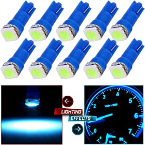 cciyu T5 58 70 73 74 Dashboard Gauge LED Wedge Light Bulb Replacement fit for Running Lights Corner Bumper lights Dashboard Lights (T5 Ice Blue)