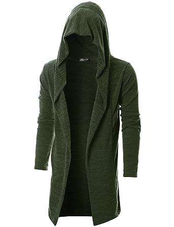 27f9041485 GIVON Mens Long Sleeve Draped Lightweight Open Front Longline Hooded  Cardigan DCC055-KHAKI-