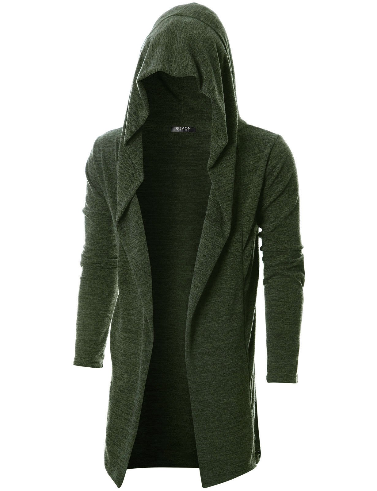 GIVON Mens Long Sleeve Draped Lightweight Open Front Longline Hooded Cardigan/DCC055-KHAKI-L
