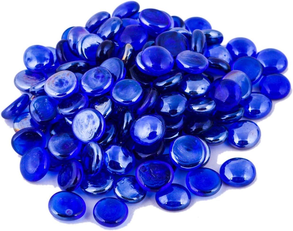 ARSUK Piedras Decorativas, Piedras Preciosas Perlas, Guirnalda Decorativa de Cristal, Piedras Redondeadas Preciosas, Piedras y Minerales 200pcs (1kg) (Azul)