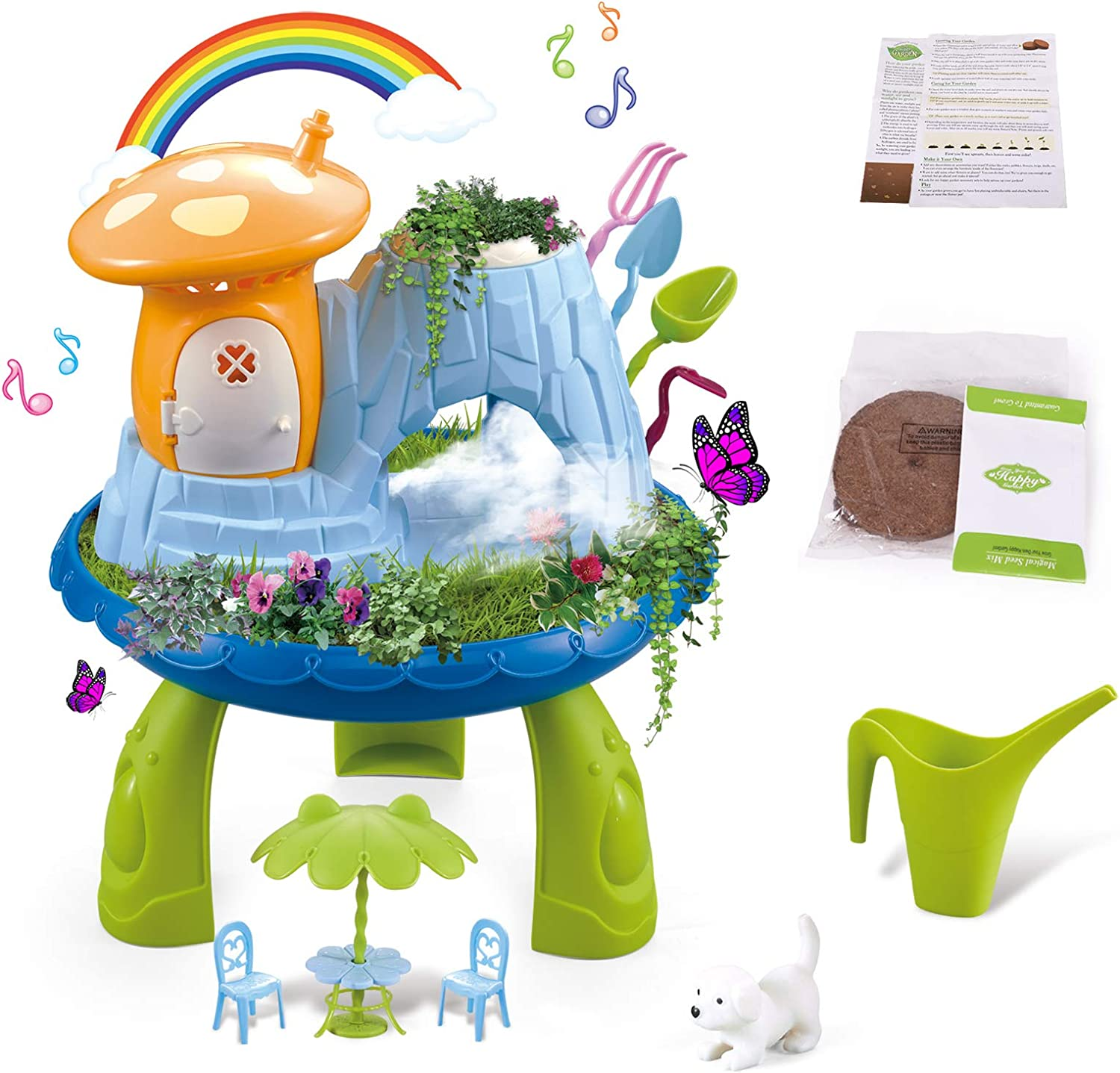 Fairy Garden Kits Kids Gardening Set Boys Indoor Outdoor DIY Play Activity Gardening Tool Set Toys with Music & Cool Mist Spraying & Seeds & Tool for Toddlers Ages 3 up Festival Birthday Learning Gift