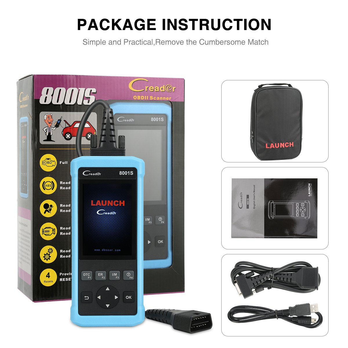 LAUNCH Creader 8001S Code Reader Car Diagnostic Tool Full OBD2 Scanner for ABS SRS Transmission Engine EPB SAS BMS Oil Service Light Reset by LAUNCH (Image #9)