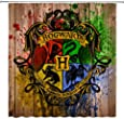 AMFD Harry Potter Shower Curtain Classic Movie Magic School Theme Tapestry 70 x 70 Inches Waterproof Mildew Polyester Fabric Bathroom Include Hooks