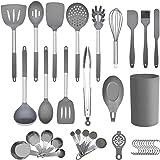 Juego de utensilios de cocina de cocina, 36 piezas de utensilios de cocina de silicona antiadherente con soporte, mango de ac