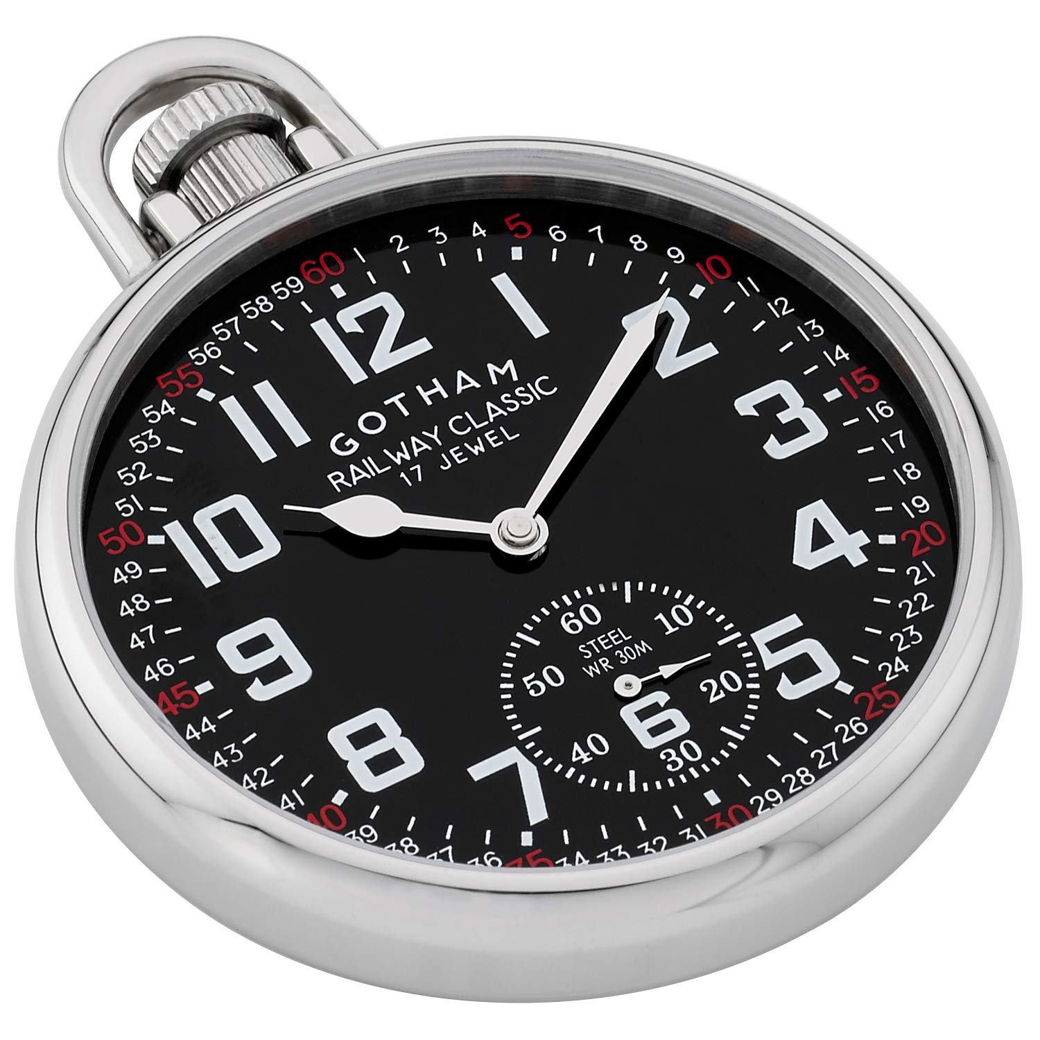 Gotham Men's Stainless Steel Mechanical Hand Wind Railroad Style Pocket Watch # GWC14108SB by Gotham (Image #2)
