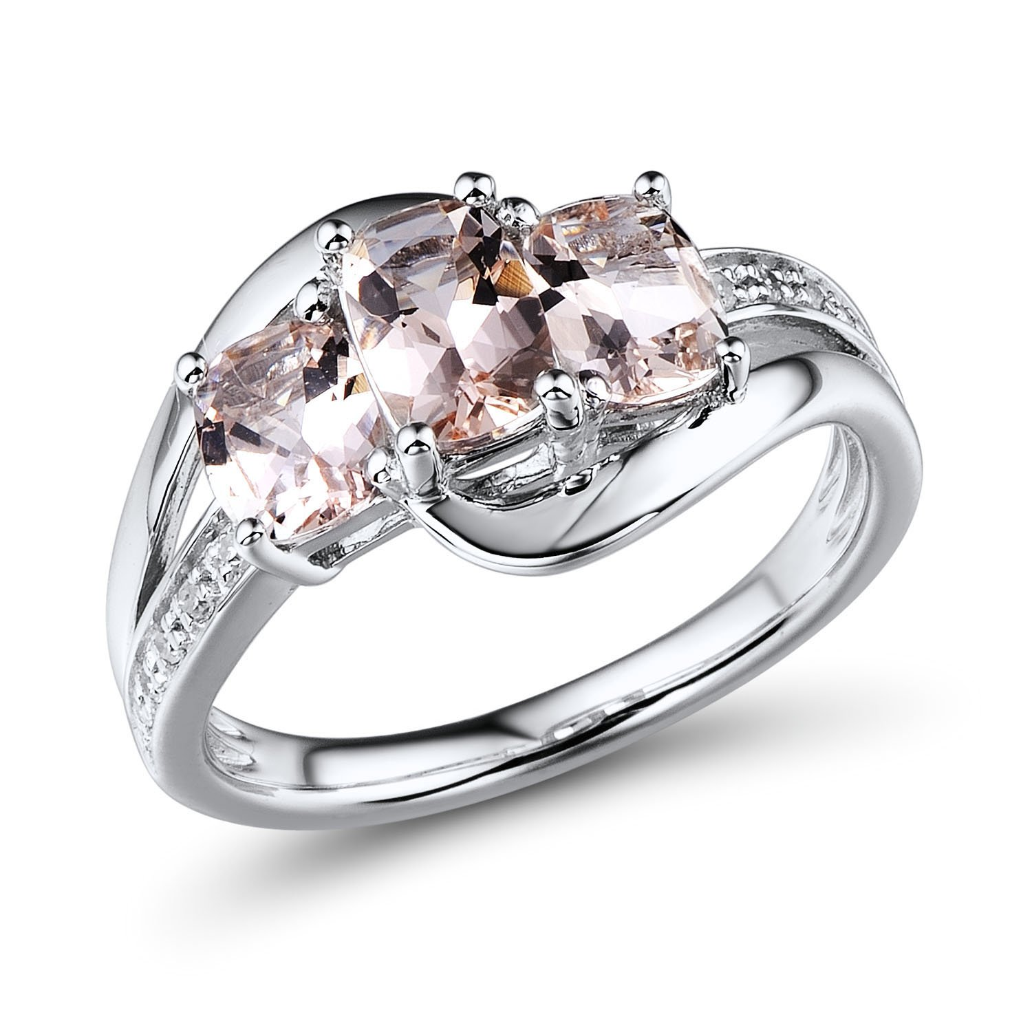 Morganite Ring with Diamond Accents in Rhodium Plated Sterling Silver
