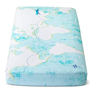 Cloud Island World Map Light Blue Fitted Crib Sheet
