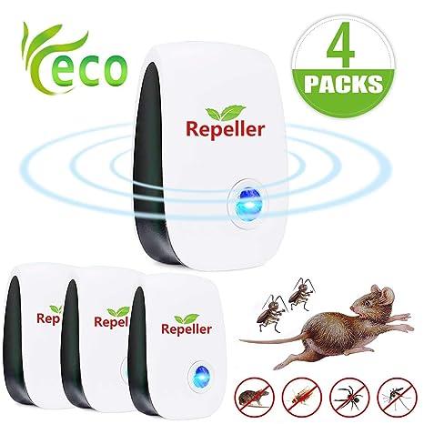 Cucarachas-100% Seguro para humanos y mascotas. 2 Pack Repelente Ultrasónico,Electrónico Repelente Spider Mosquitos,Control de Plagas para Interiores para Mosquitos Ratas Hormigas Insectos