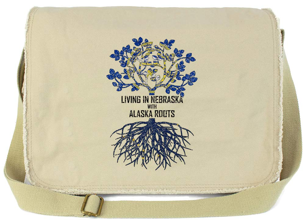 Tenacitee Living In Nebraska with Alaska Roots Grey Brushed Canvas Messenger Bag