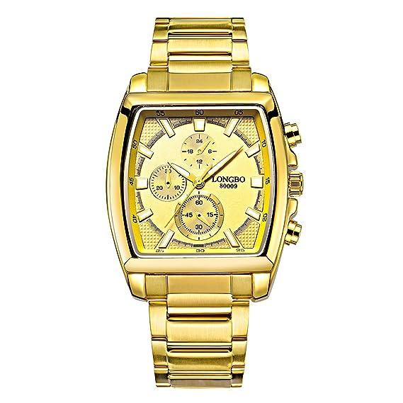 Longbo para hombre lujo relojes oro hombres oro cara banda de acero inoxidable reloj de pulsera para hombre cronógrafo para decoración de: Amazon.es: ...