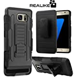 Samsung S7 Cover, REALIKE™ Premium {Imported} Shock Proof Hard Case with Belt Clip for Samsung S7 (Armor Series - Black)