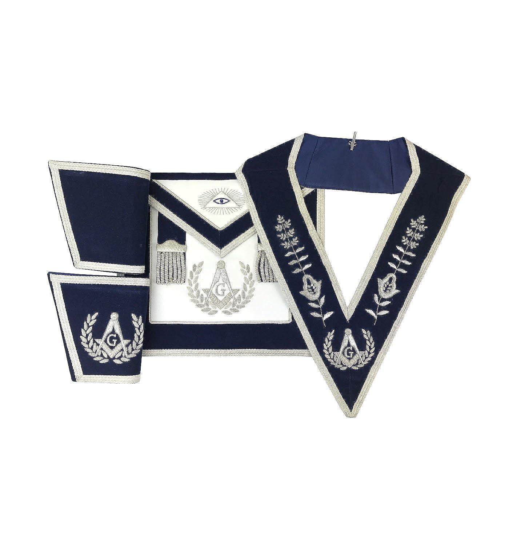 Masonic Master Mason Apron Set Apron,Collar gauntlets Navy Velvet Hand embroided