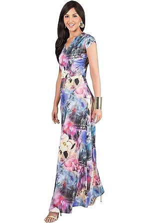d8215fbf2f87 KOH KOH Womens Long Cap Short Sleeve Floral Print V-Neck Boho Flowy Summer  Casual