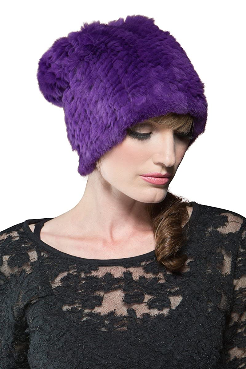 Amazon.com  Adrienne Landau Women s Bryan Boy Purple Rex Rabbit Knit Fur Hat   Clothing 96013d833a0