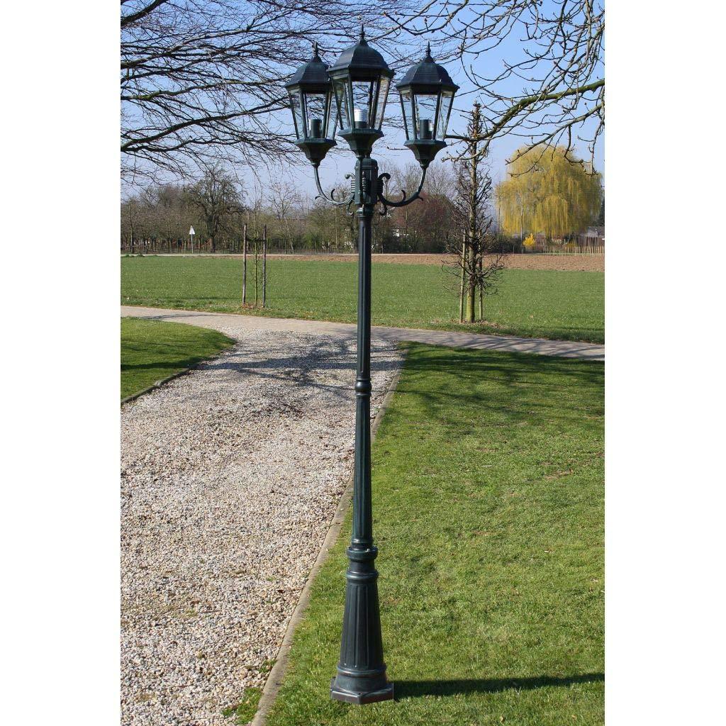 Brighton - Lanterna da giardino a 3 bracci, 230 cm, colore  verde scuro Nero
