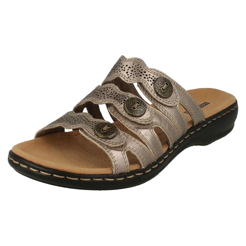 Clarks Leisa Damen Grace, Damen Leisa Schwarz Leder Maultier Sandale mit 3 Riemen 9 Pewter Metallic - c0a42f
